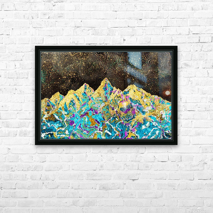 Gold Turquoise Mountain - Illustration I HD Sublimation Metal print with Decorating Float Frame (BOX)