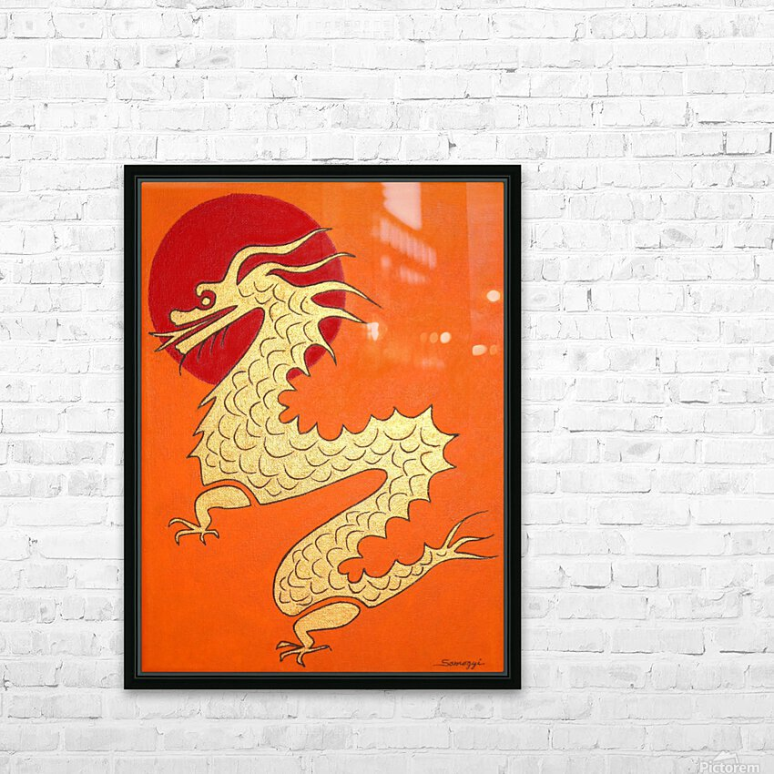 Asian Dragon Icon No.1 HD Sublimation Metal print with Decorating Float Frame (BOX)