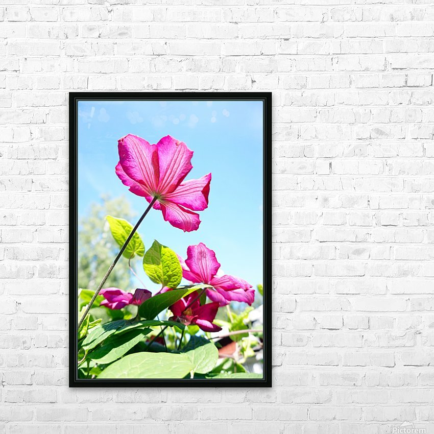 Pink flower and green leaves HD Sublimation Metal print with Decorating Float Frame (BOX)