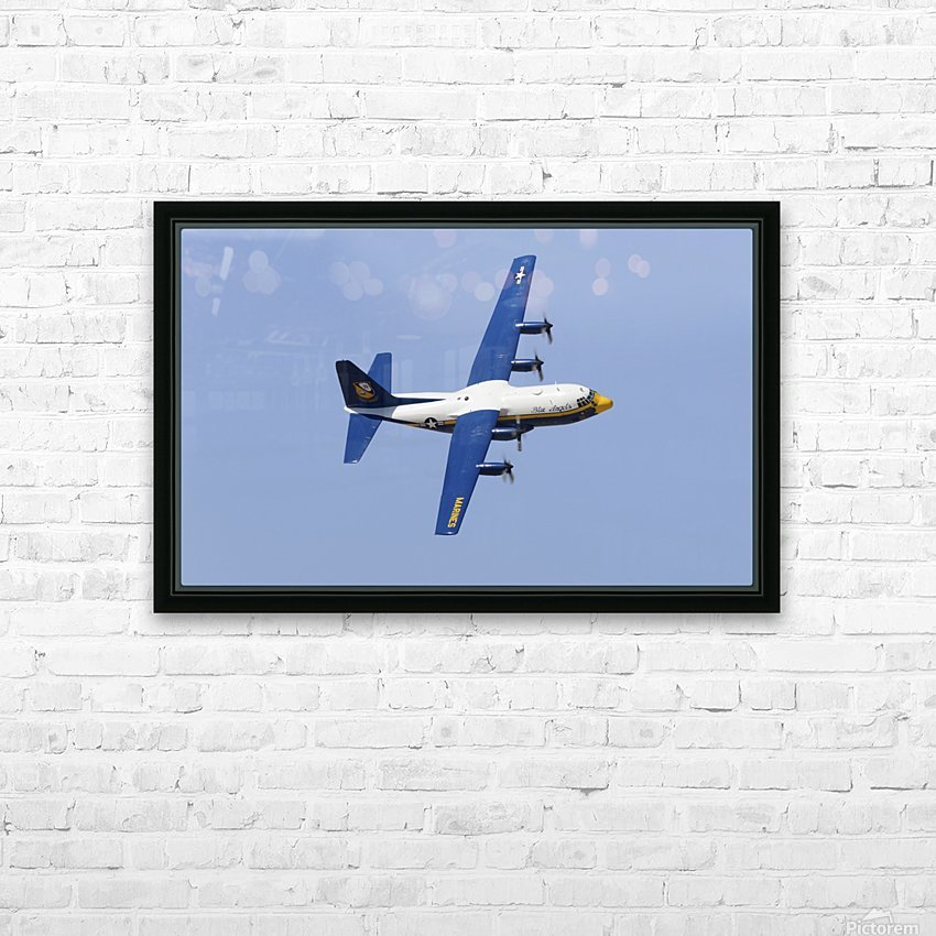 A C-130 Hercules of the Blue Angels flight demonstration squadron. HD Sublimation Metal print with Decorating Float Frame (BOX)
