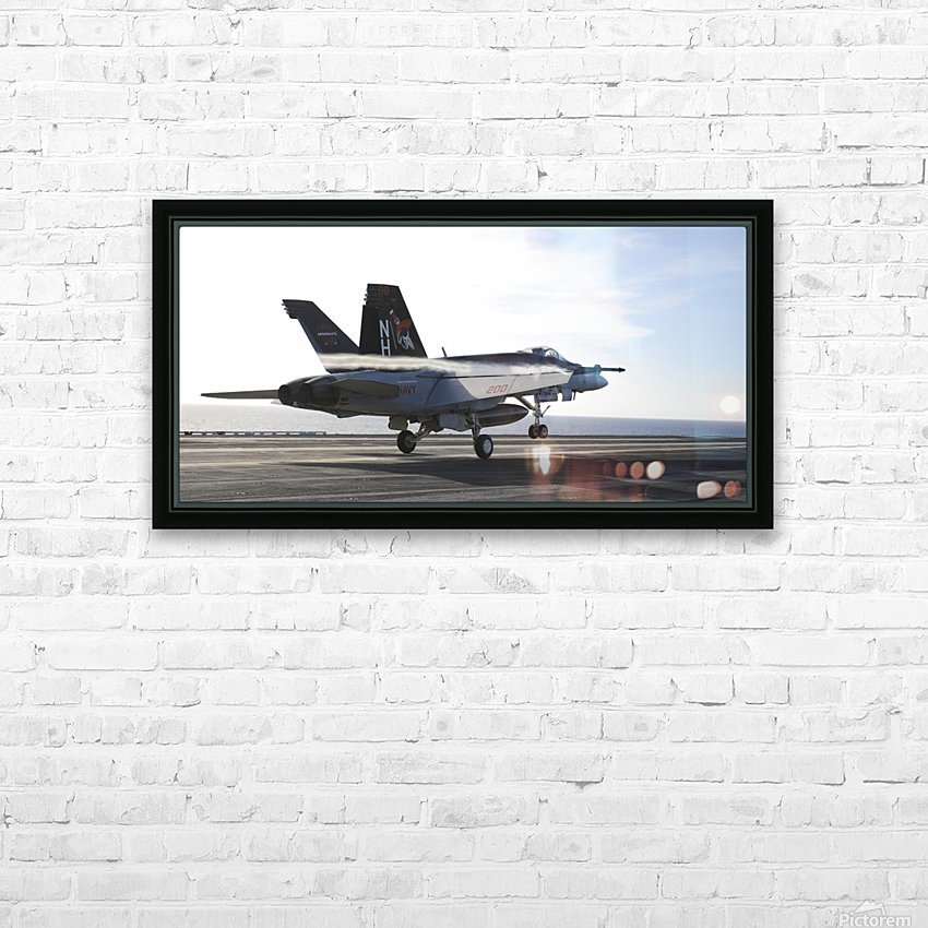 An F-A-18E Super Hornet touches the flight deck of USS Nimitz. HD Sublimation Metal print with Decorating Float Frame (BOX)
