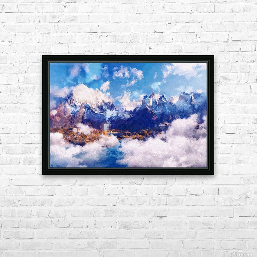 Mountains Artwork II HD Sublimation Metal print with Decorating Float Frame (BOX)