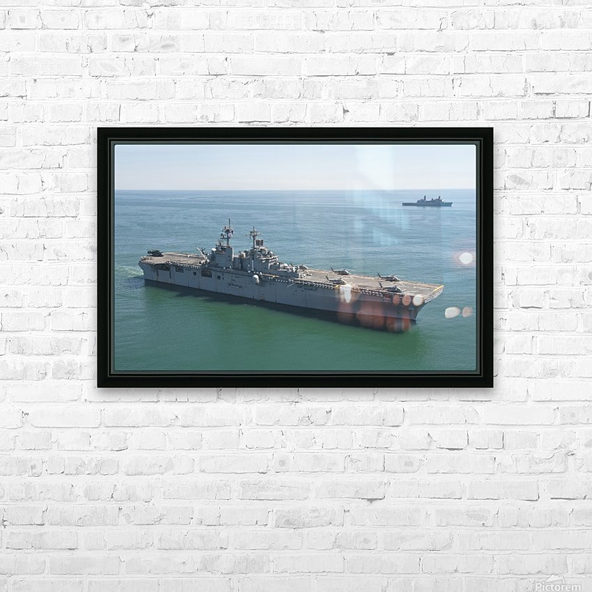 USS Wasp and USS San Antonio transit in formation in the Atlantic Ocean. HD Sublimation Metal print with Decorating Float Frame (BOX)