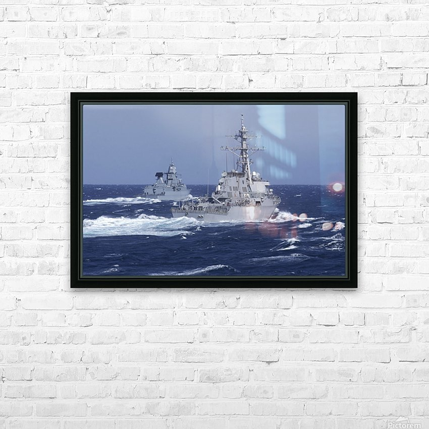 USS Carney practices diversion tactics with the German frigate Sachsen. HD Sublimation Metal print with Decorating Float Frame (BOX)