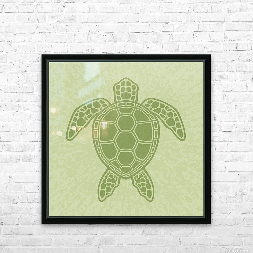 Green Sea Turtle HD Sublimation Metal print with Decorating Float Frame (BOX)