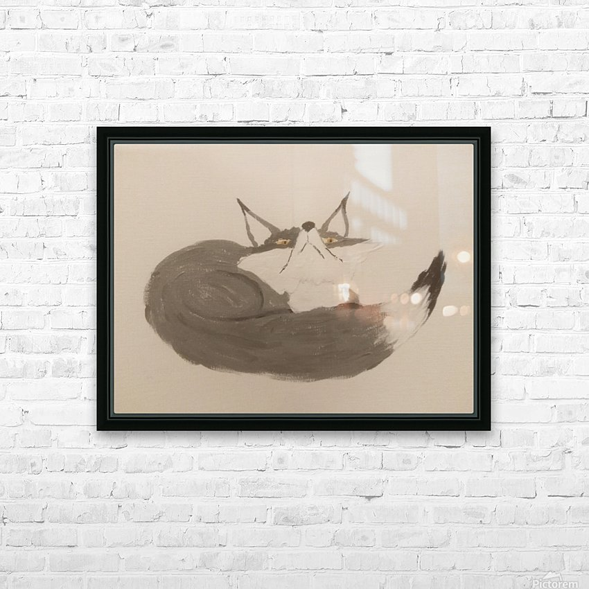 Gray Fox Looking to the Skies HD Sublimation Metal print with Decorating Float Frame (BOX)