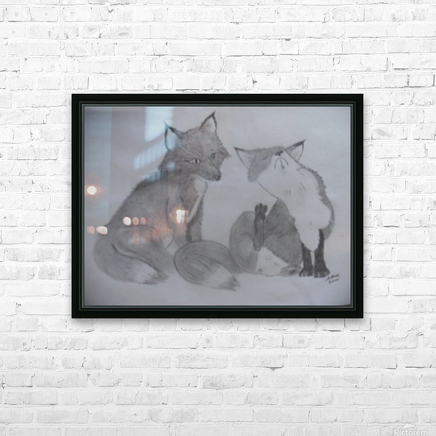 Fox Pair HD Sublimation Metal print with Decorating Float Frame (BOX)