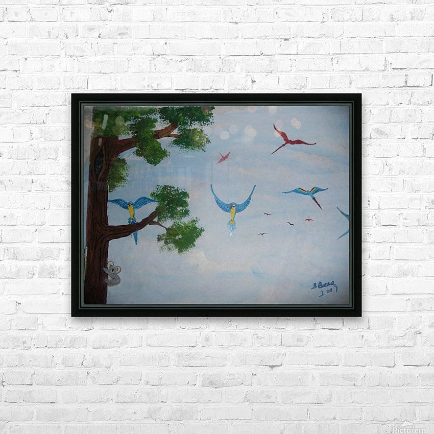 Macaw family HD Sublimation Metal print with Decorating Float Frame (BOX)