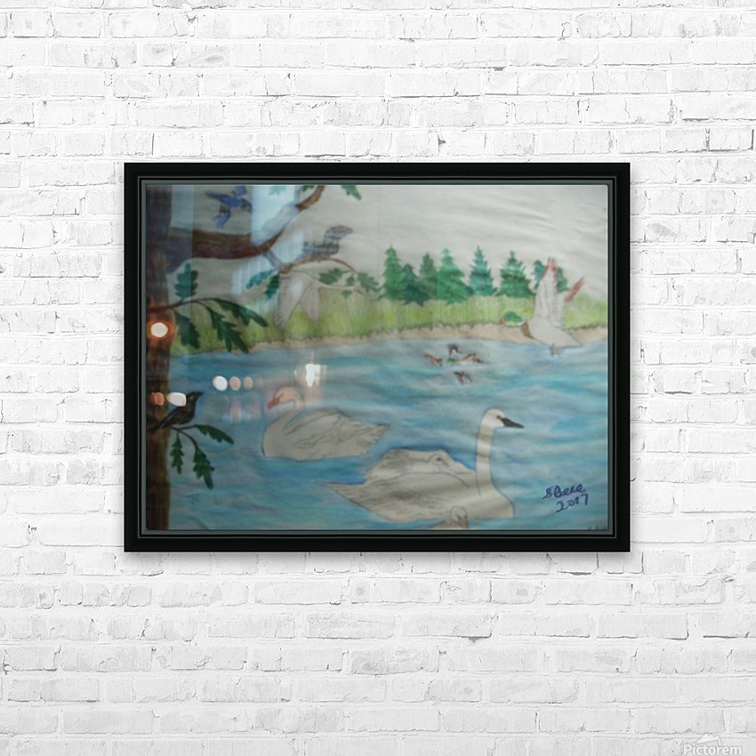 Swan Pond HD Sublimation Metal print with Decorating Float Frame (BOX)