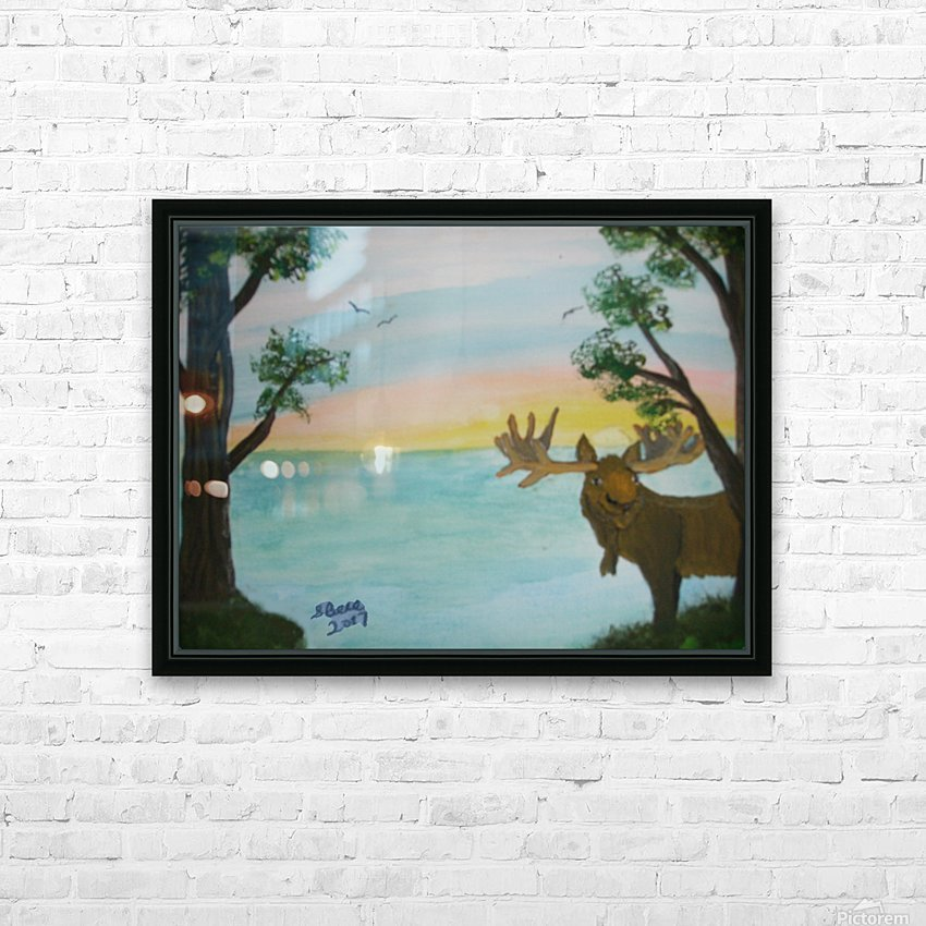 Maine Moose HD Sublimation Metal print with Decorating Float Frame (BOX)