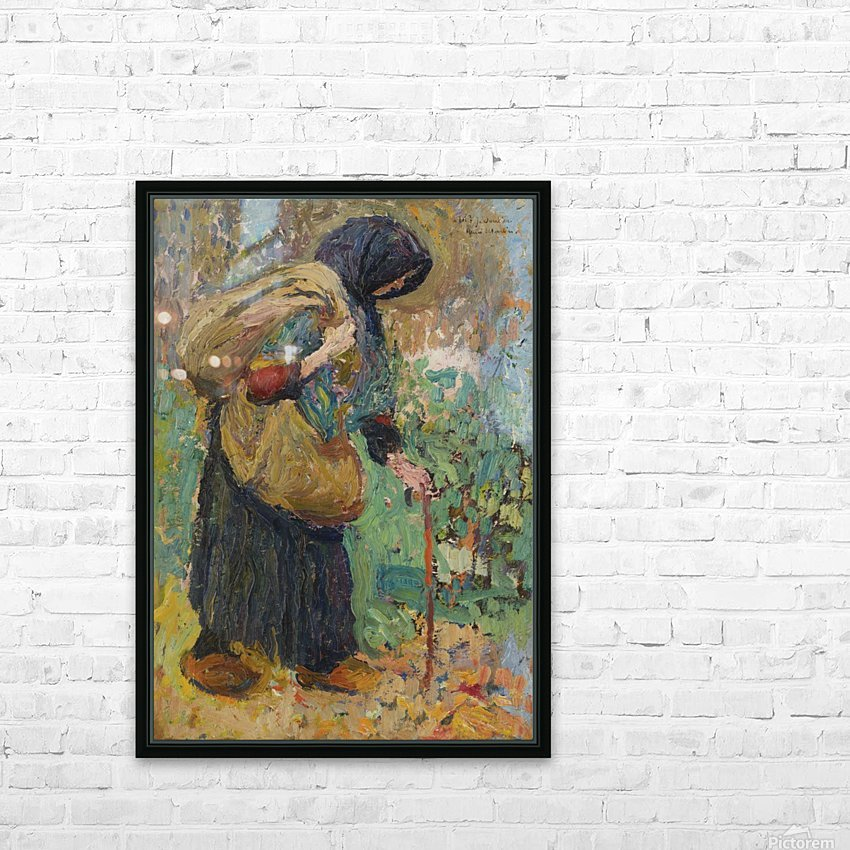 Old Peasant Woman HD Sublimation Metal print with Decorating Float Frame (BOX)