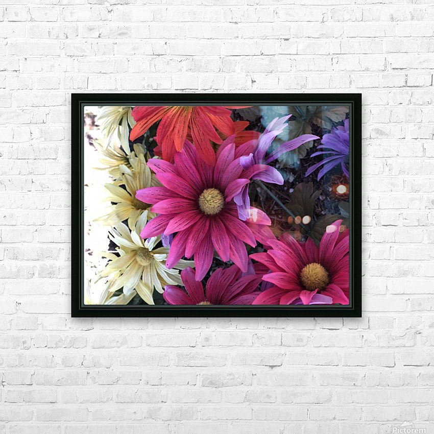 Rainbow of flowers HD Sublimation Metal print with Decorating Float Frame (BOX)