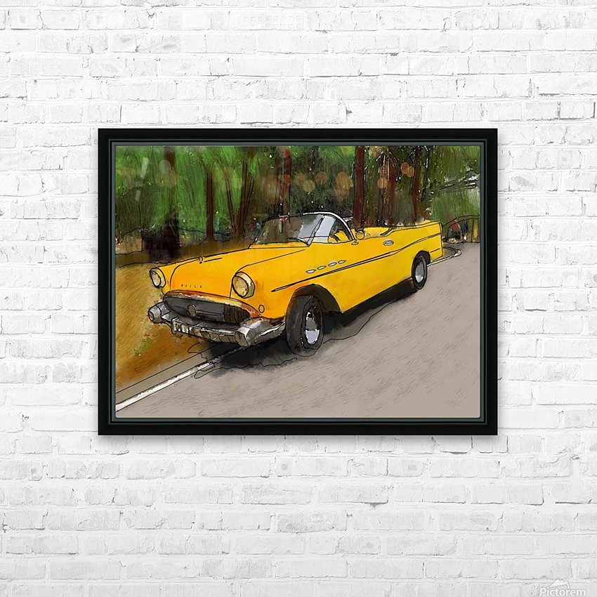 Cuba Yellow Car HD Sublimation Metal print with Decorating Float Frame (BOX)