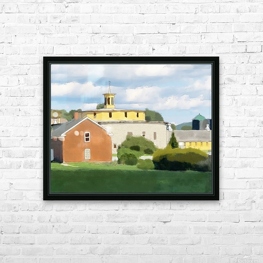 Hancock Shaker Village Round Stone Barn and Brick Poultry House HD Sublimation Metal print with Decorating Float Frame (BOX)