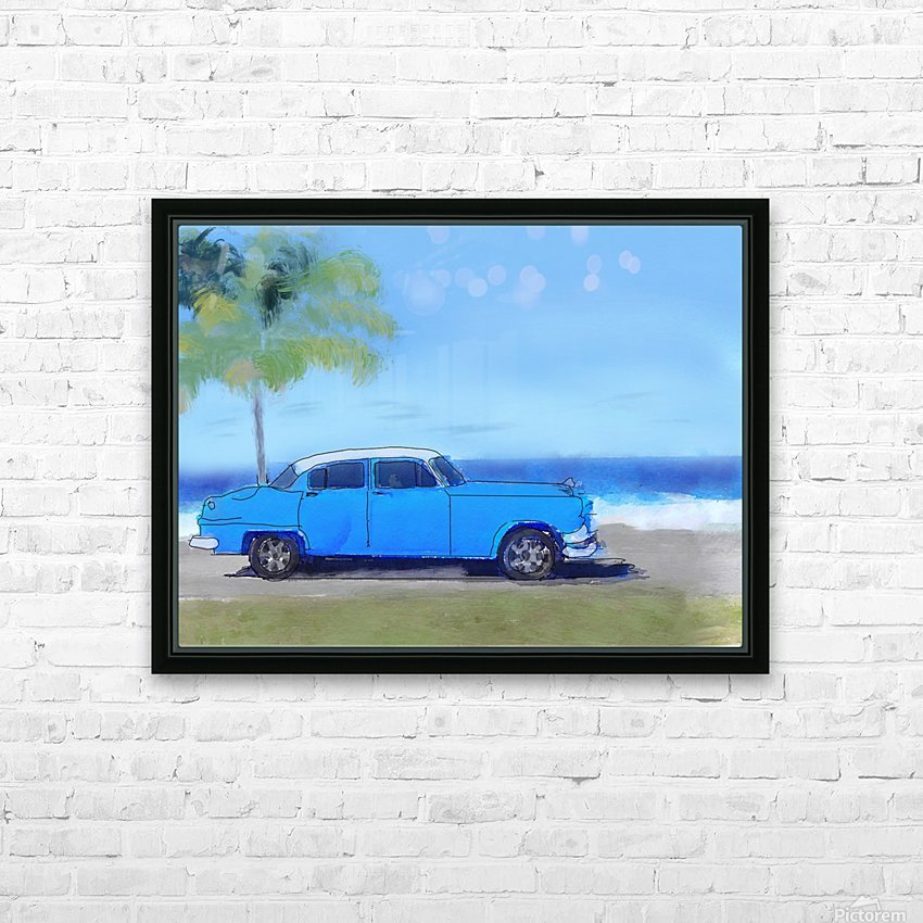 Cuba Blue Car HD Sublimation Metal print with Decorating Float Frame (BOX)