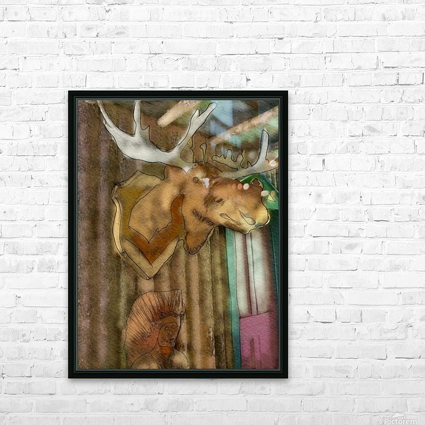 The Hedges Moose Head HD Sublimation Metal print with Decorating Float Frame (BOX)