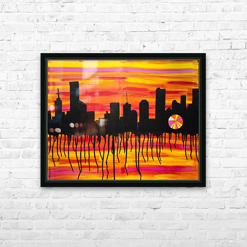 Melting City. Maggie Z HD Sublimation Metal print with Decorating Float Frame (BOX)