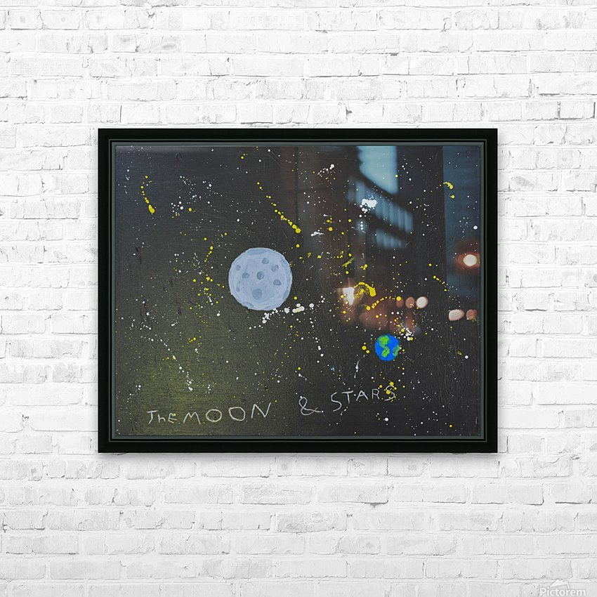 Moon and Stars. David R HD Sublimation Metal print with Decorating Float Frame (BOX)