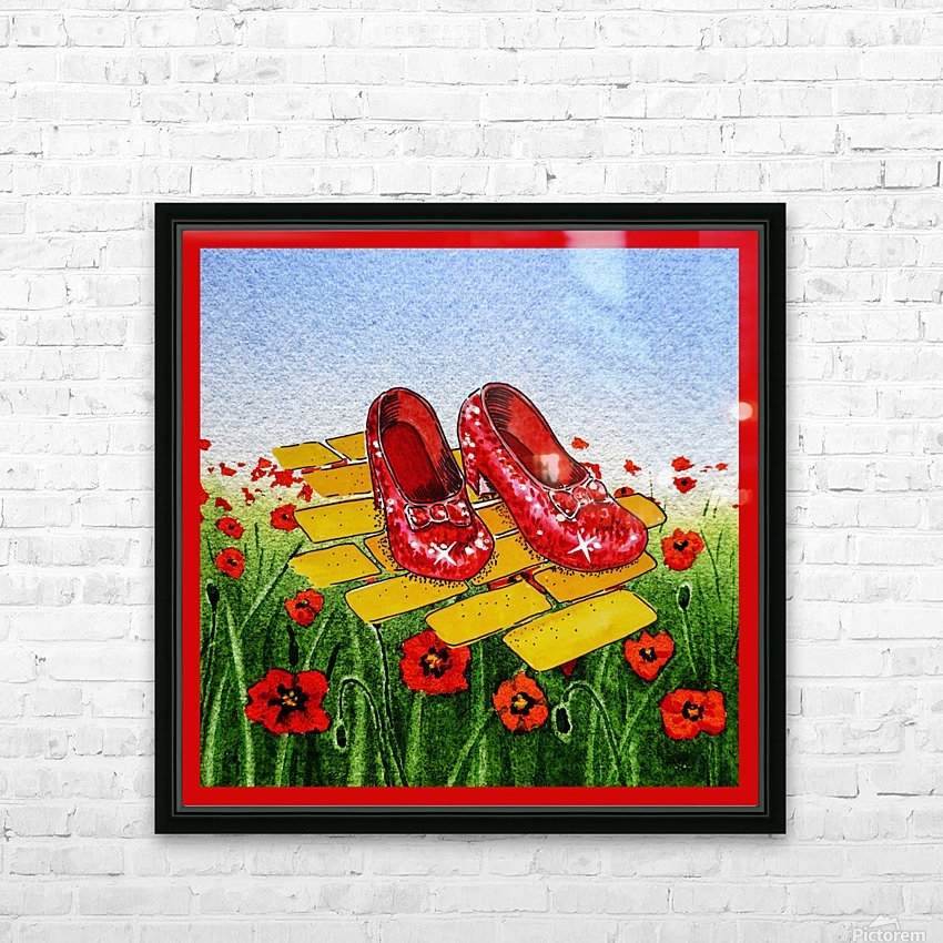 Ruby Slippers Yellow Brick Road Red Poppies Field HD Sublimation Metal print with Decorating Float Frame (BOX)