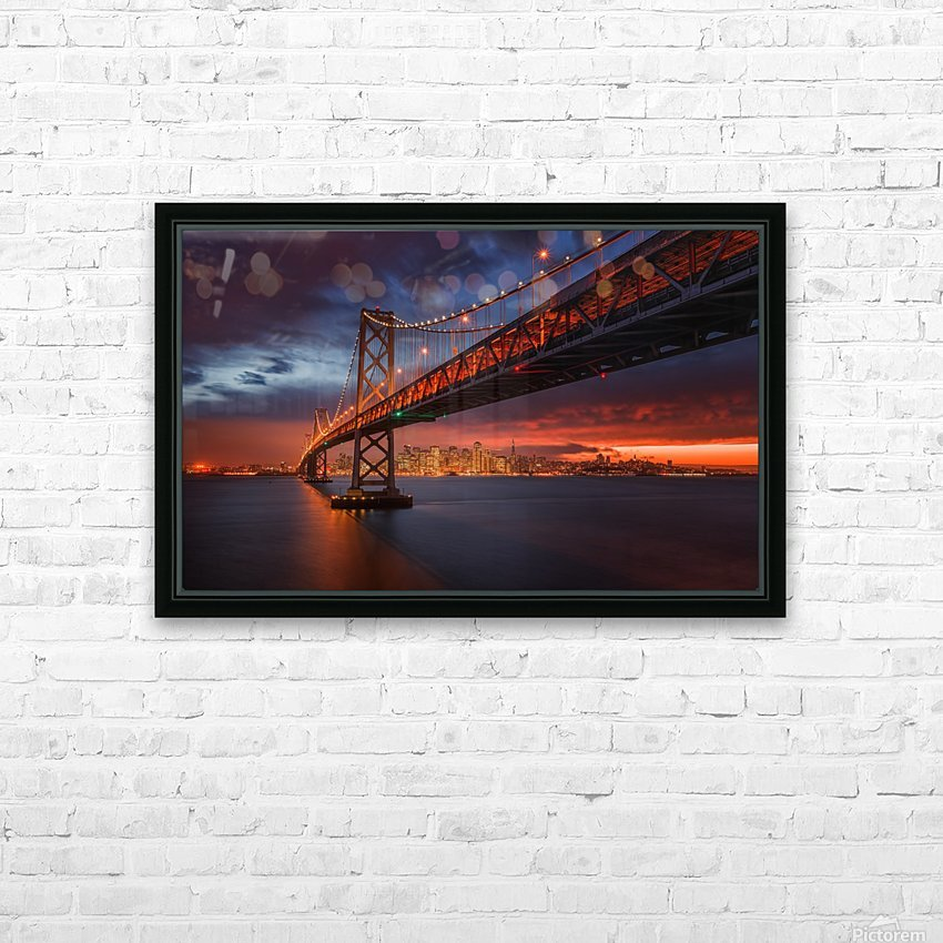 Fire over San Francisco HD Sublimation Metal print with Decorating Float Frame (BOX)