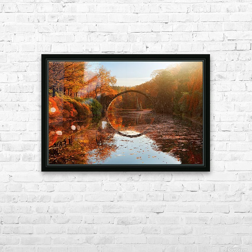 Autumn lake HD Sublimation Metal print with Decorating Float Frame (BOX)