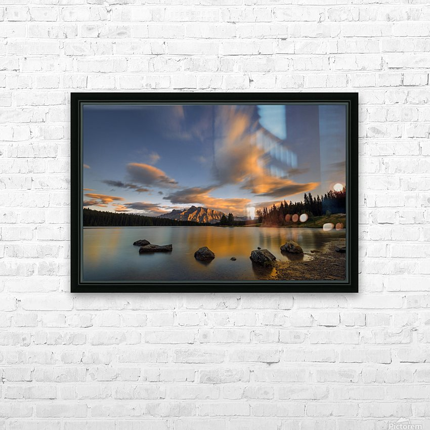 Two Jack Lake Sunset HD Sublimation Metal print with Decorating Float Frame (BOX)