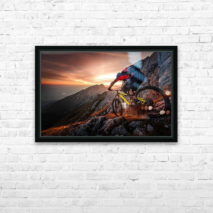 Golden hour high alpine ride HD Sublimation Metal print with Decorating Float Frame (BOX)