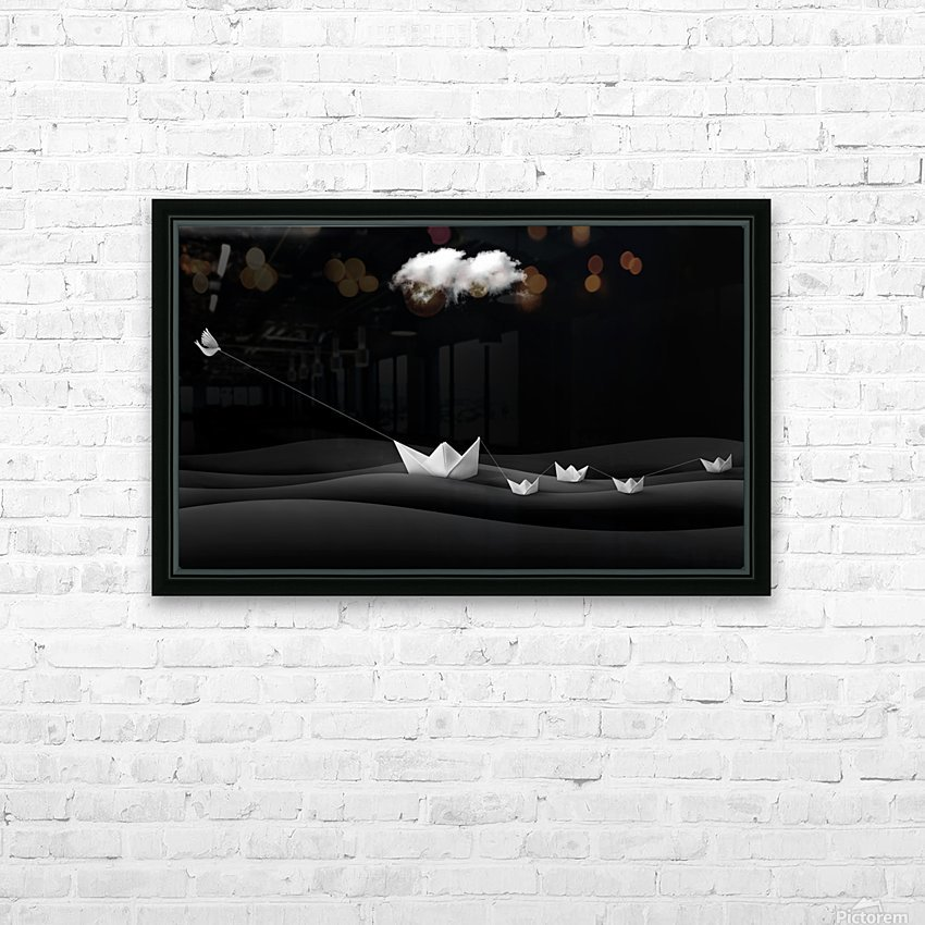 Paper Boats HD Sublimation Metal print with Decorating Float Frame (BOX)