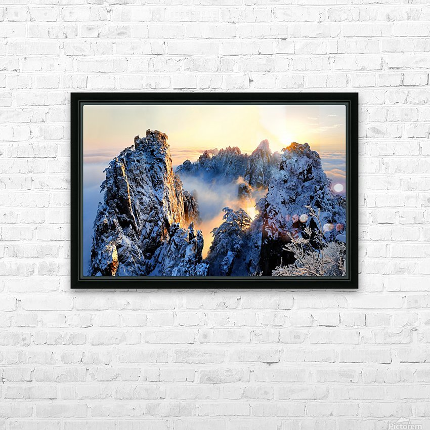 Sunrise at Mt. Huang Shan HD Sublimation Metal print with Decorating Float Frame (BOX)