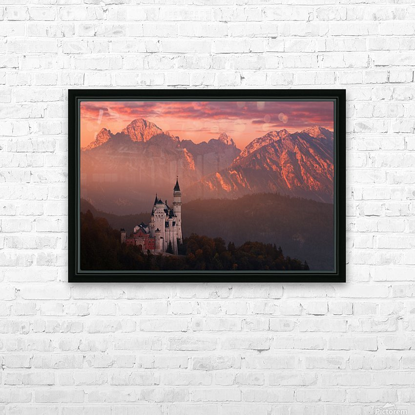 Red morning above the castle HD Sublimation Metal print with Decorating Float Frame (BOX)