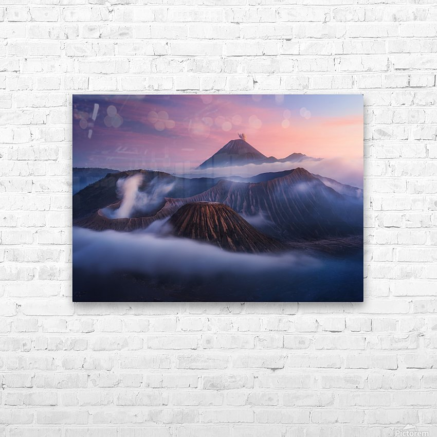 Bromo vs Semeru. HD Sublimation Metal print with Decorating Float Frame (BOX)
