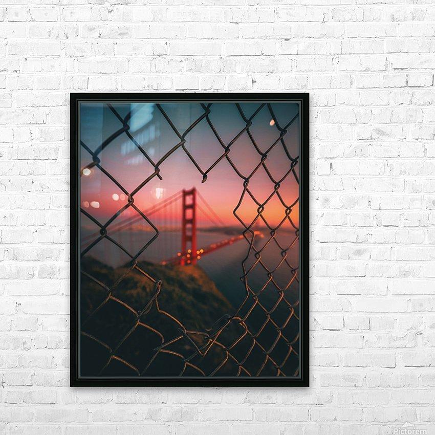 Golden Gate Caged HD sublimation métal imprimé avec décoration flotteur cadre (boîte)