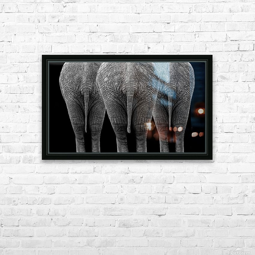The Elephants HD Sublimation Metal print with Decorating Float Frame (BOX)