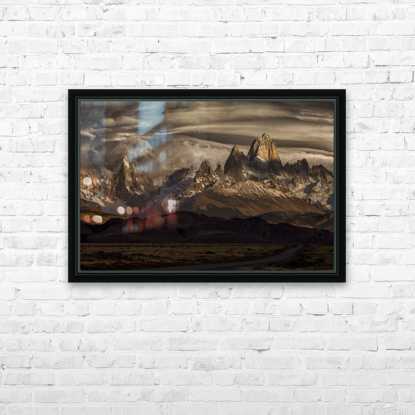 Striped sky over the Patagonia spikes HD Sublimation Metal print with Decorating Float Frame (BOX)