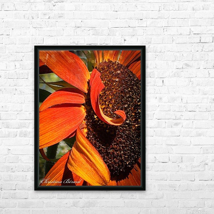 Sun Flowing flowers  HD sublimation métal imprimé avec décoration flotteur cadre (boîte)