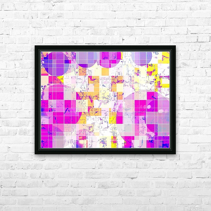 geometric square and circle pattern abstract in pink purple yellow HD Sublimation Metal print with Decorating Float Frame (BOX)