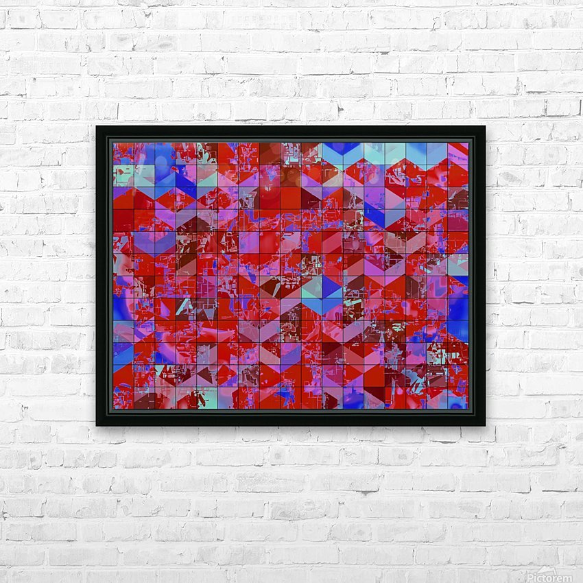 geometric square and triangle pattern abstract in red and blue HD Sublimation Metal print with Decorating Float Frame (BOX)