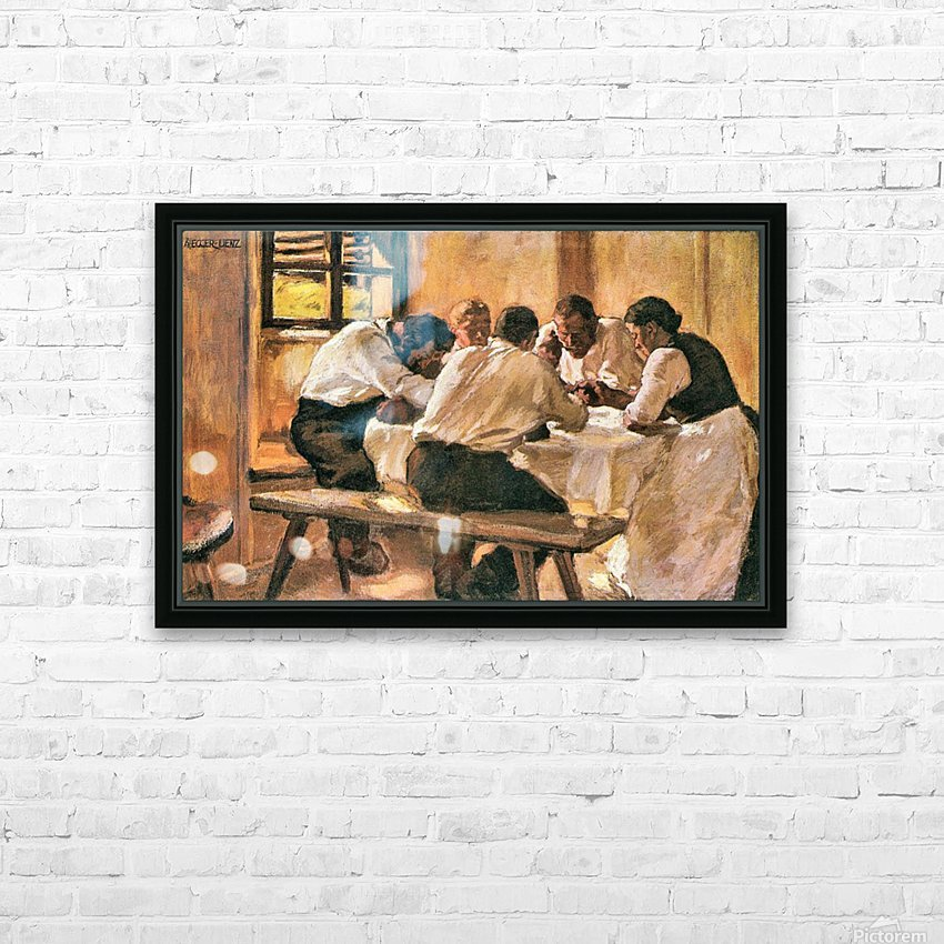 Lunch by Albin Egger-Lienz HD Sublimation Metal print with Decorating Float Frame (BOX)