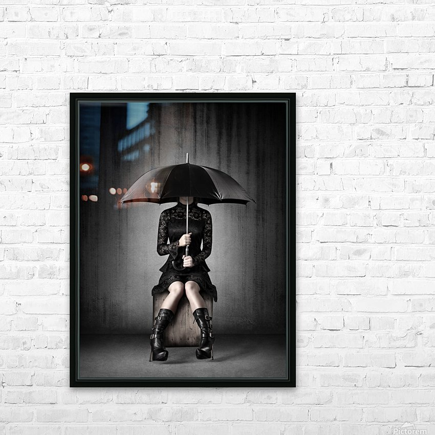 Black Rain HD Sublimation Metal print with Decorating Float Frame (BOX)