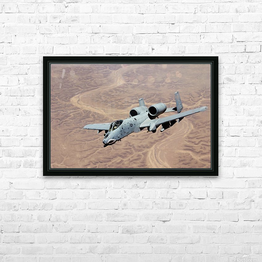 An A-10 Thunderbolt soars above the skies of Iraq. HD Sublimation Metal print with Decorating Float Frame (BOX)