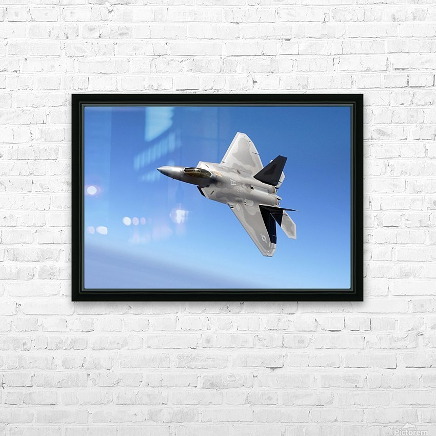 An F-A-22 Raptor banks during a training sortie. HD Sublimation Metal print with Decorating Float Frame (BOX)