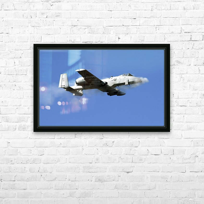An A-10 Thunderbolt II pilot fires the planes 30-mm cannon. HD Sublimation Metal print with Decorating Float Frame (BOX)