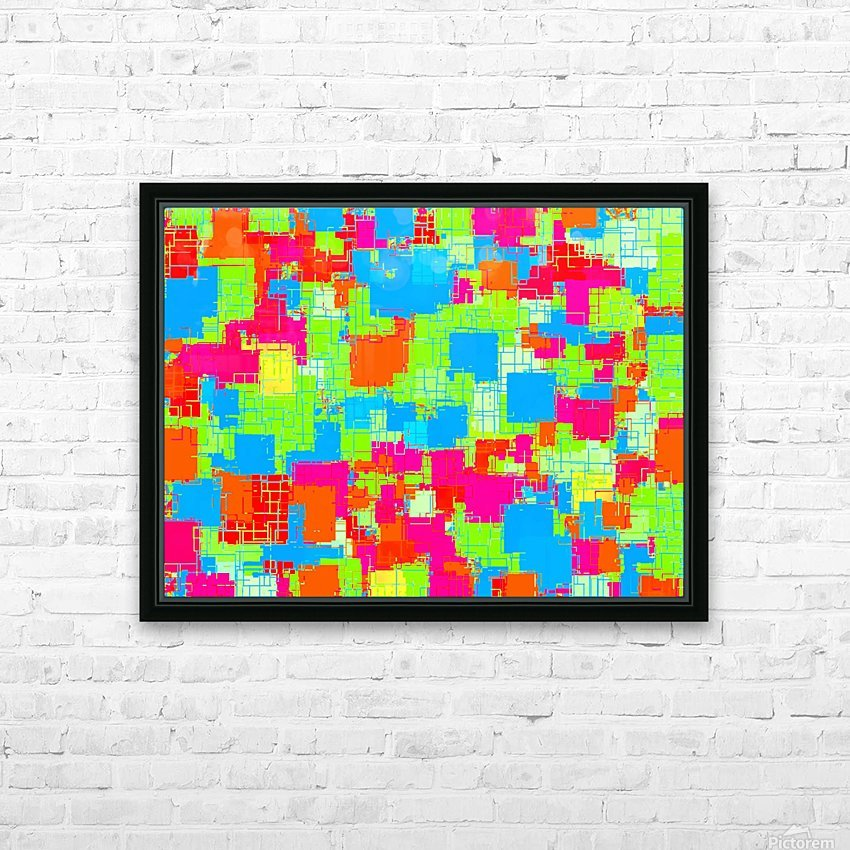 geometric square pattern abstract in green blue pink HD Sublimation Metal print with Decorating Float Frame (BOX)