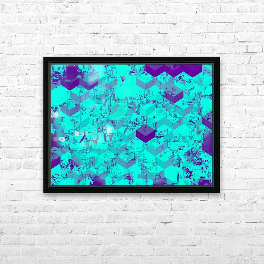 geometric square pattern abstract in blue HD Sublimation Metal print with Decorating Float Frame (BOX)