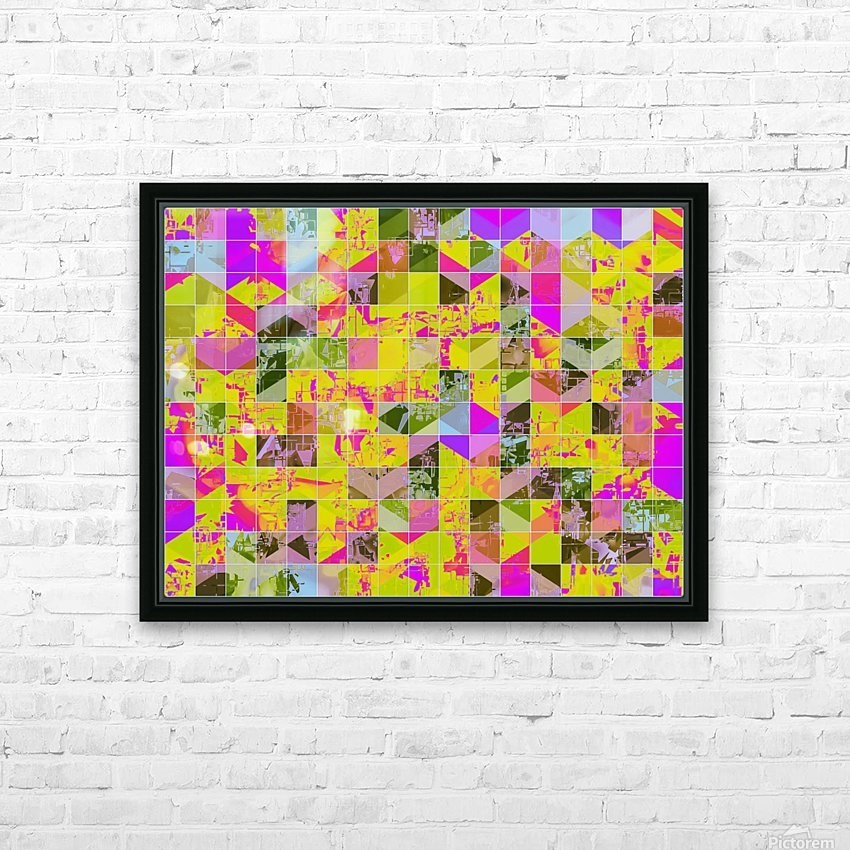 geometric square pattern abstract in yellow green pink HD Sublimation Metal print with Decorating Float Frame (BOX)