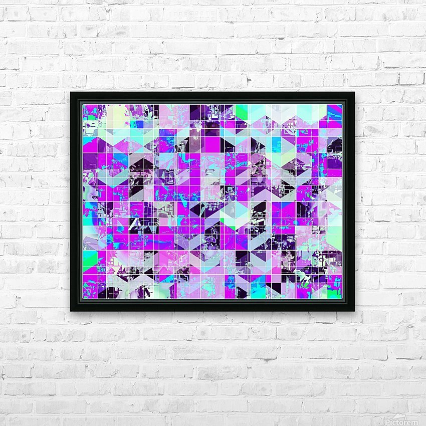 geometric square pattern abstract in purple blue HD Sublimation Metal print with Decorating Float Frame (BOX)
