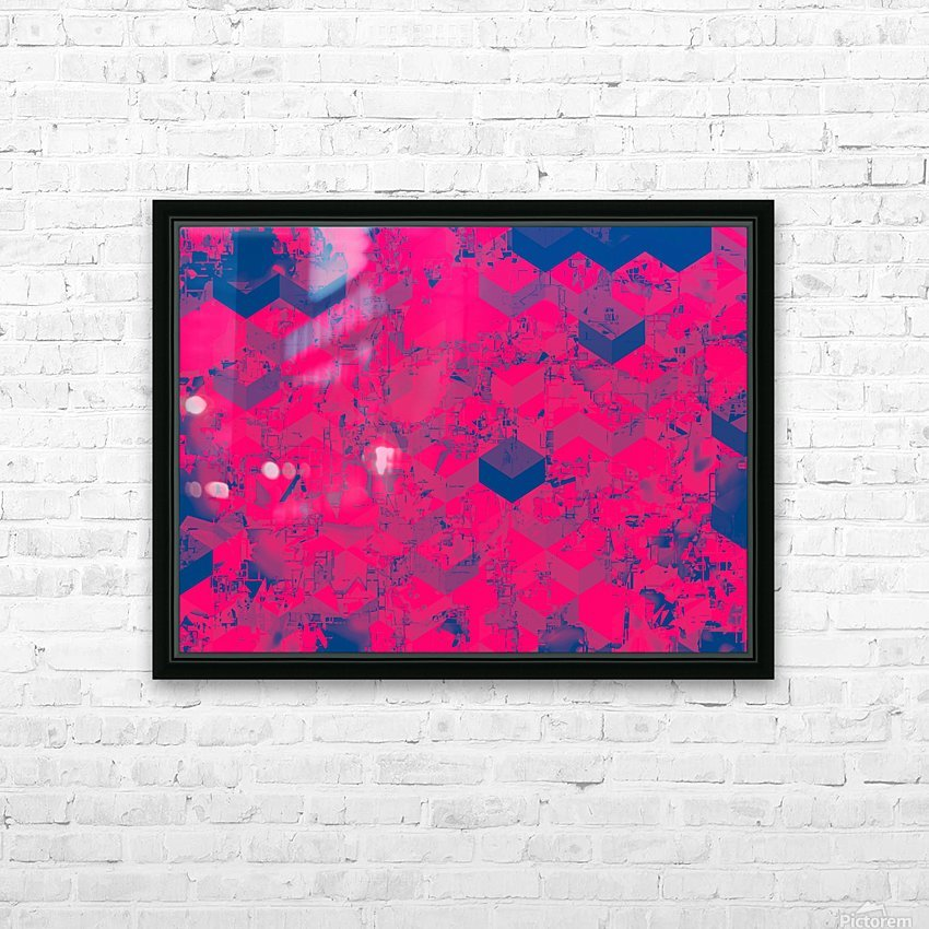 geometric square pattern abstract in pink blue HD Sublimation Metal print with Decorating Float Frame (BOX)