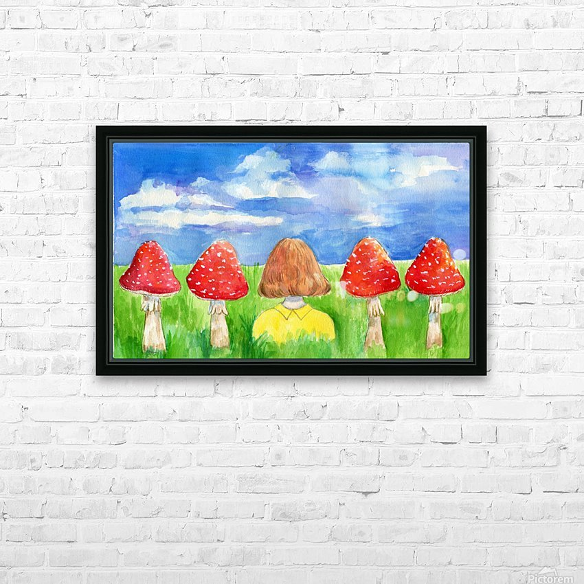 Mushroom Girl  HD Sublimation Metal print with Decorating Float Frame (BOX)