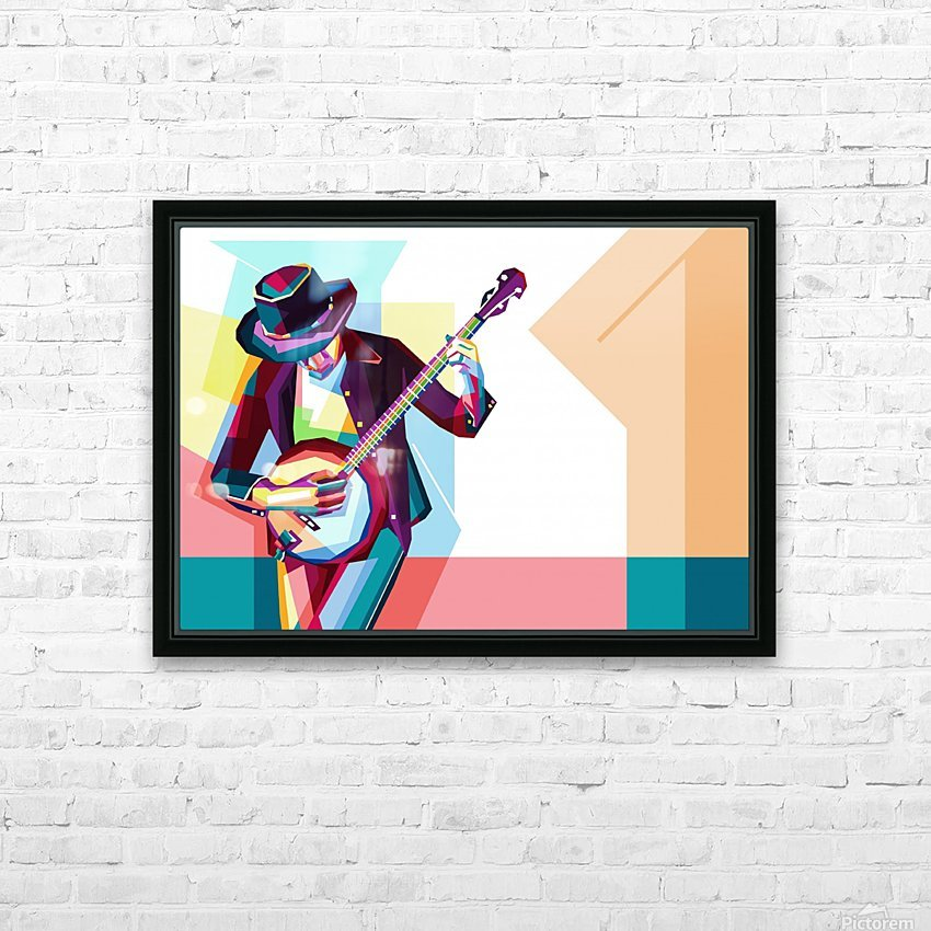 GUITAR MAN HD Sublimation Metal print with Decorating Float Frame (BOX)