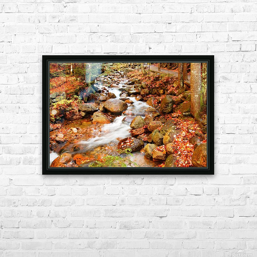New England autumn stream HD Sublimation Metal print with Decorating Float Frame (BOX)